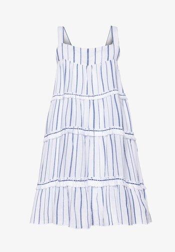 STRIPE FRINGED TIER DRESS