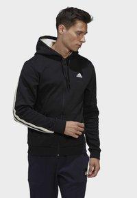 adidas Performance - WINTER 3-STRIPES FULL-ZIP HOODIE - Zip-up hoodie - black - 0
