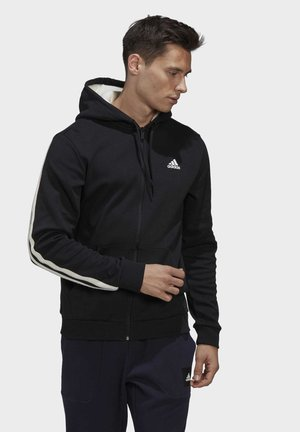 WINTER 3-STRIPES FULL-ZIP HOODIE - Collegetakki - black