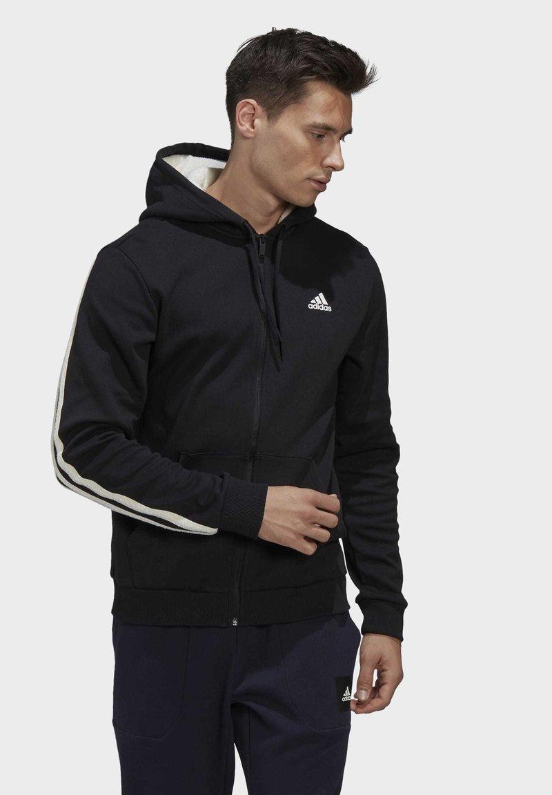 adidas Performance - WINTER 3-STRIPES FULL-ZIP HOODIE - Zip-up hoodie - black