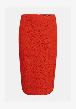 BLEISTIFTROCK AUS SPITZE - Pencil skirt - red orange