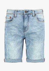 MIT AUFSCHLAG - Jeans Shorts - light-blue