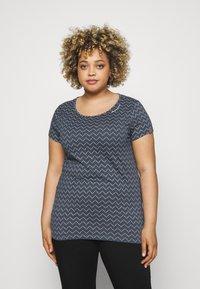 Ragwear Plus - ZIG ZAG - Print T-shirt - denim blue - 0