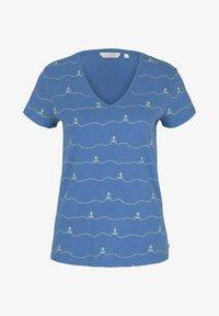 TOM TAILOR DENIM - V-NECK TEE - T-shirt imprimé - blue - 4