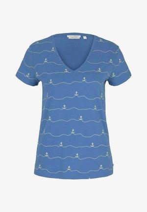 V-NECK TEE - T-shirt imprimé - blue