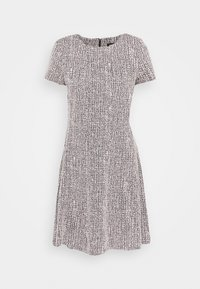 DKNY - TEXTURED FITFLARE - Day dress - black/pink/ivory - 0