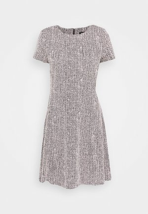 TEXTURED FITFLARE - Day dress - black/pink/ivory