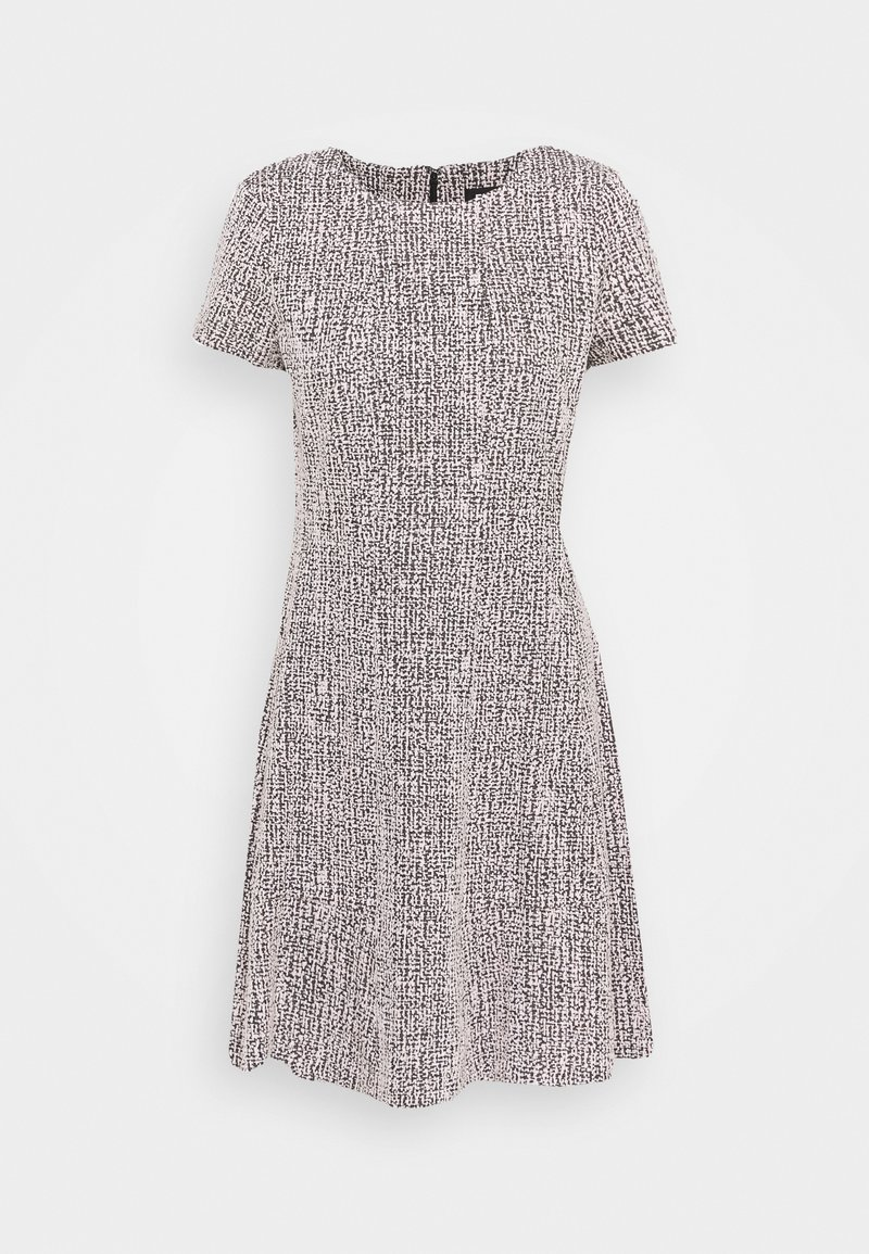 DKNY - TEXTURED FITFLARE - Day dress - black/pink/ivory