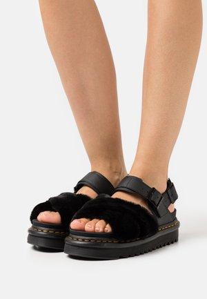 VOSS FLUFFY - Platform sandals - black