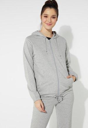 MIT REISSVERSCHLUSS UND TUNNELZUG - Zip-up hoodie - grigio melange chiar