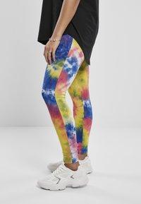 Urban Classics - TIE DYE HIGH WAIST  - Leggings - Trousers - royalblue/brightyellow - 3