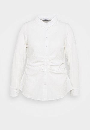 TEXTURED STRETCHSHIRT WITH WAIST ROUCHING - Blouse - white