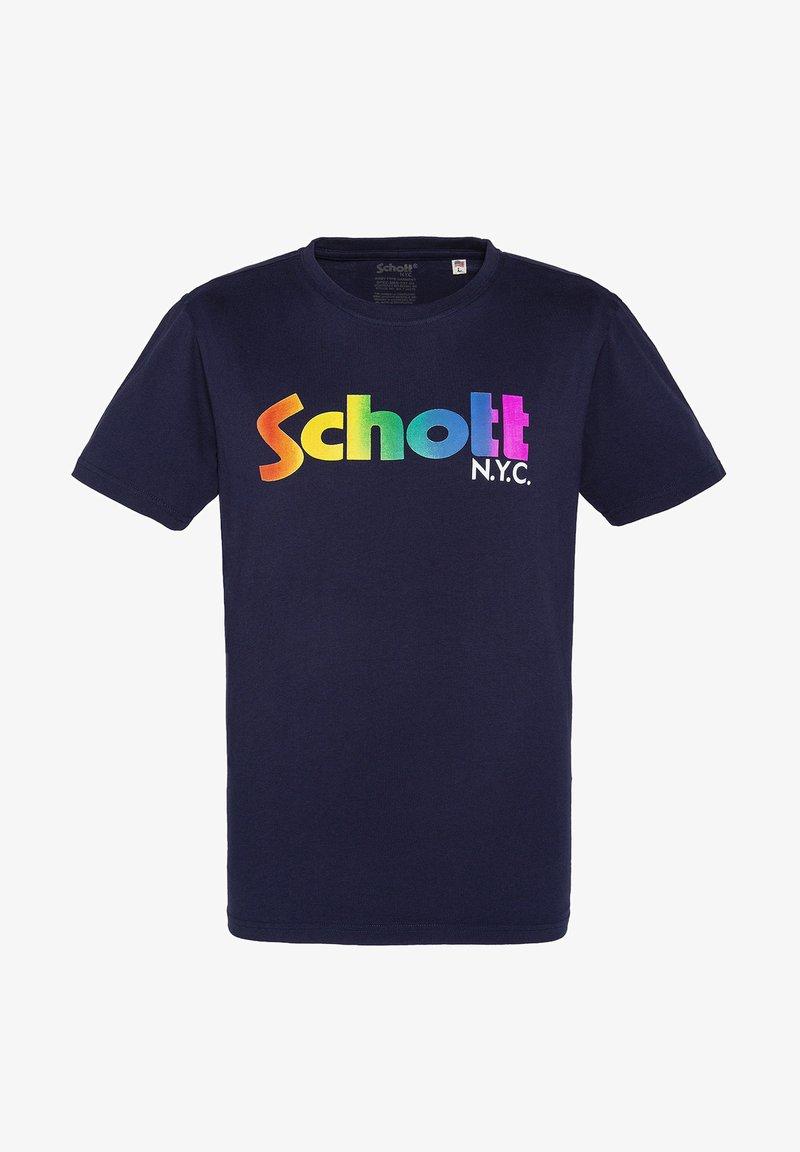 Schott - LOGO - Print T-shirt - bleu arc en ciel