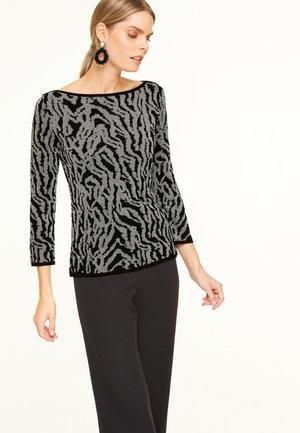 Sweatshirt - black moire jacquard