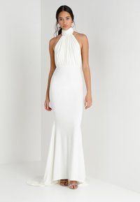 Club L London - HALTER NECK RUCHED DETAIL FISHTAIL MAXI DRESS - Occasion wear - white - 1