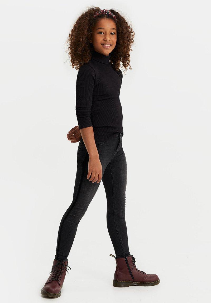WE Fashion - MEISJES MET VELVET TAPE DETAIL - Jeans Skinny Fit - dark grey