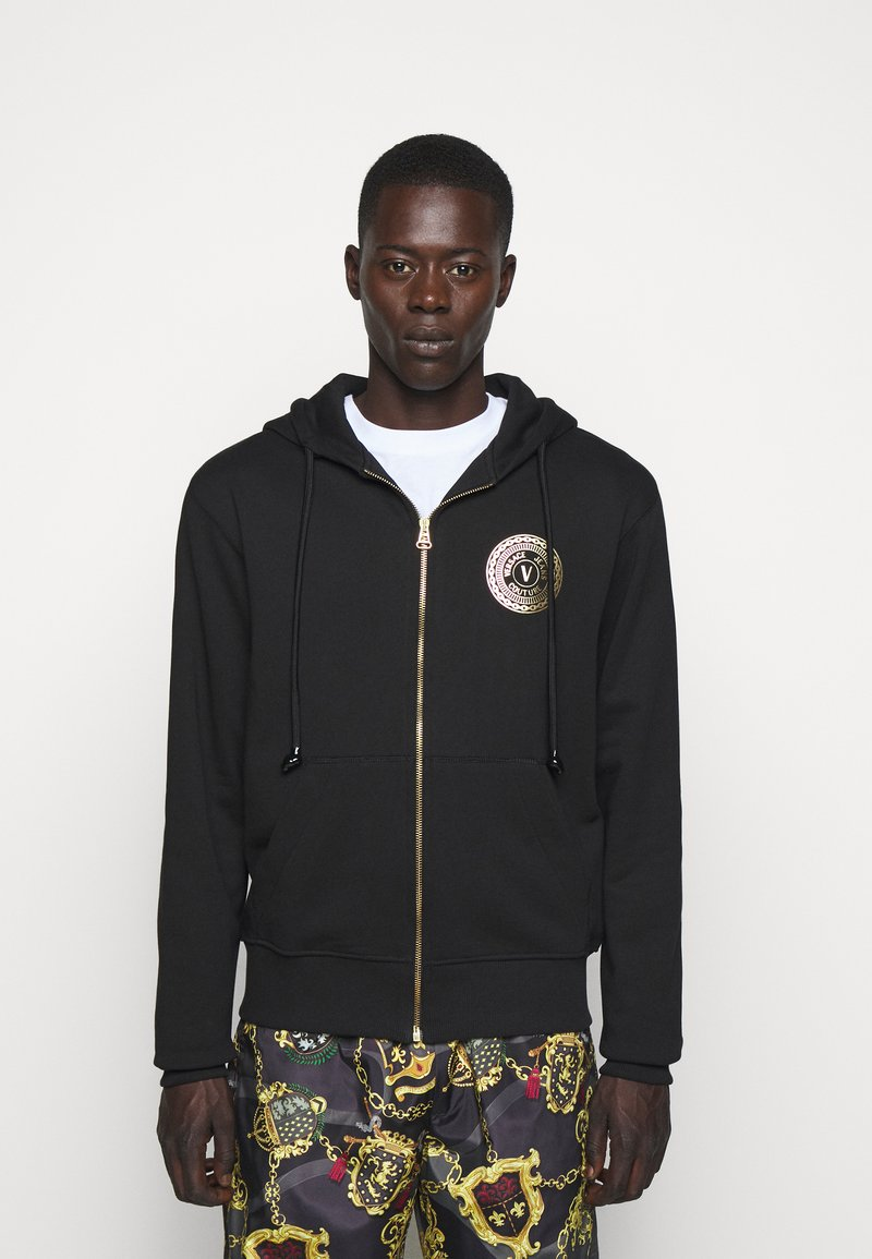 Versace Jeans Couture - FULL ZIP HOODIE WITH LOGO - Bluza rozpinana - nero