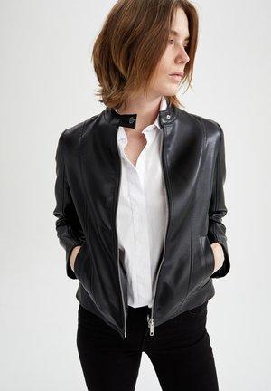 REGULAR FIT - Faux leather jacket - black