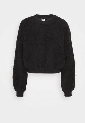 BALLOON SLEEVE CREW - Fleece jumper - black
