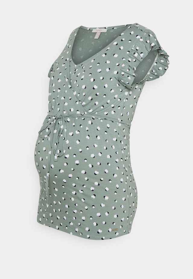 NURSING - T-shirt med print - grey moss