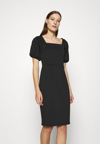 SQUARE NECK MIDI DRESS - Shift dress - black