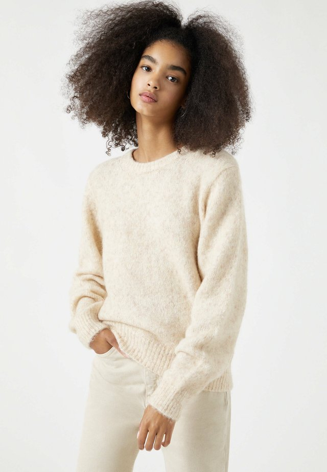 Sweter - mottled beige