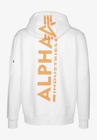 Alpha Industries - Bluza z kapturem - white/neon orange - 1