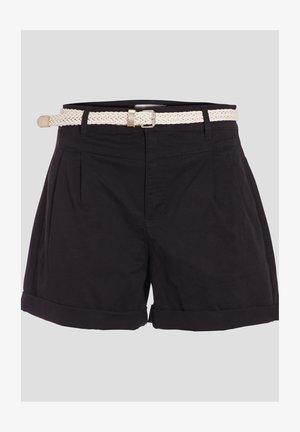 MIT GÜRTEL - Shorts - noir