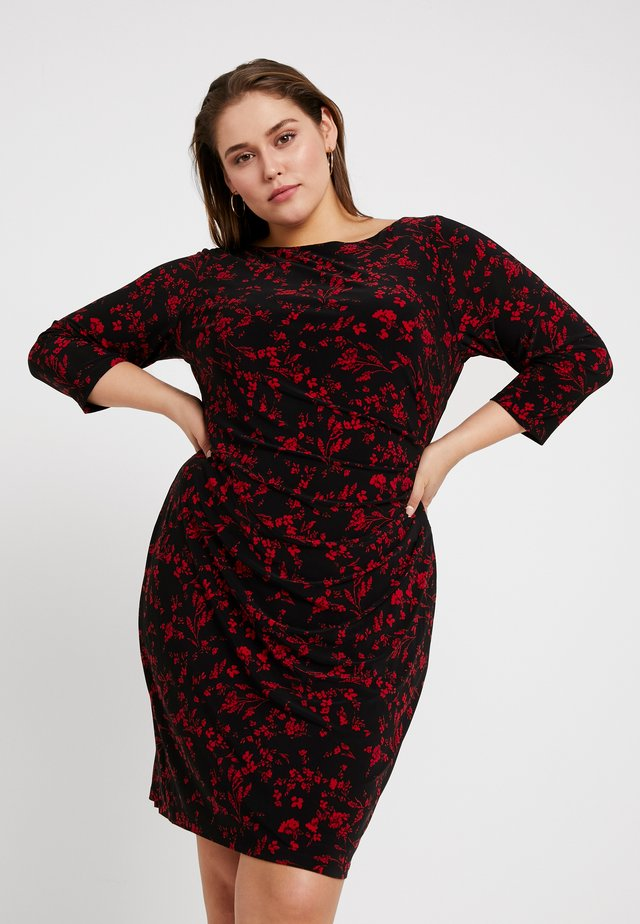 VICTORINA 3/4 SLEEVE DAY DRESS - Jerseykjole - black/scarlet red