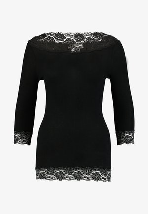 SILK-MIX T-SHIRT REGULAR 3/4 S W/LACE - Top s dlouhým rukávem - black