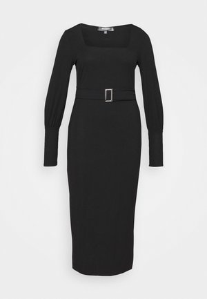 SQUARE NECK SELF BELT MIDAXI DRESS - Day dress - black