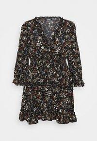 Missguided Plus - FRILL CUFF SKATER DRESS POLKA - Day dress - black - 0