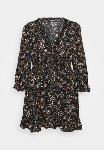 FRILL CUFF SKATER DRESS POLKA - Day dress - black