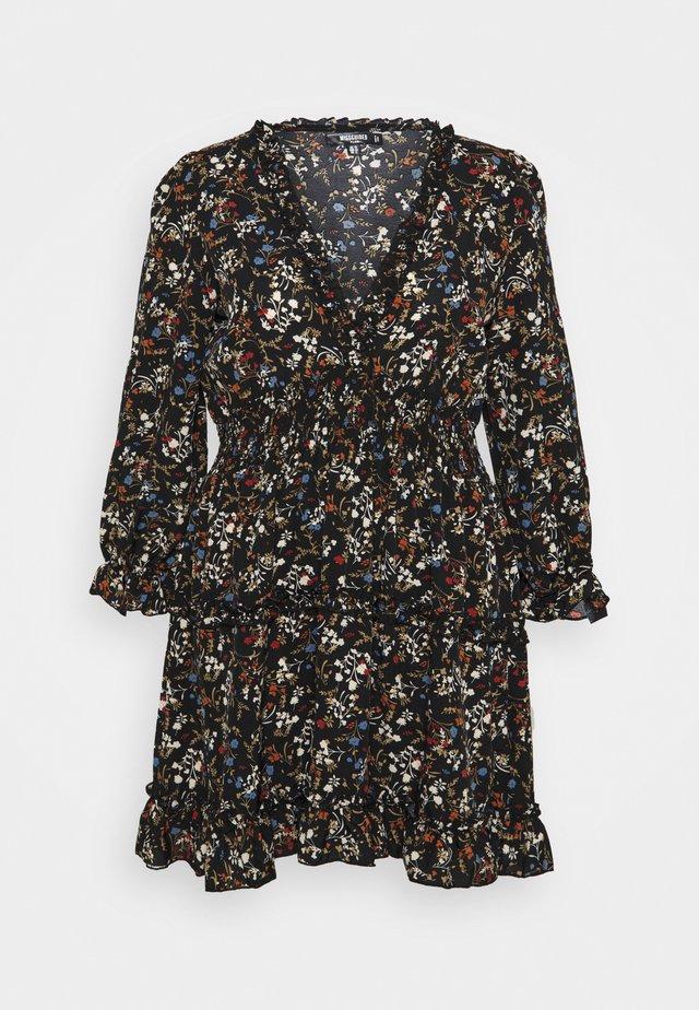 FRILL CUFF SKATER DRESS POLKA - Korte jurk - black