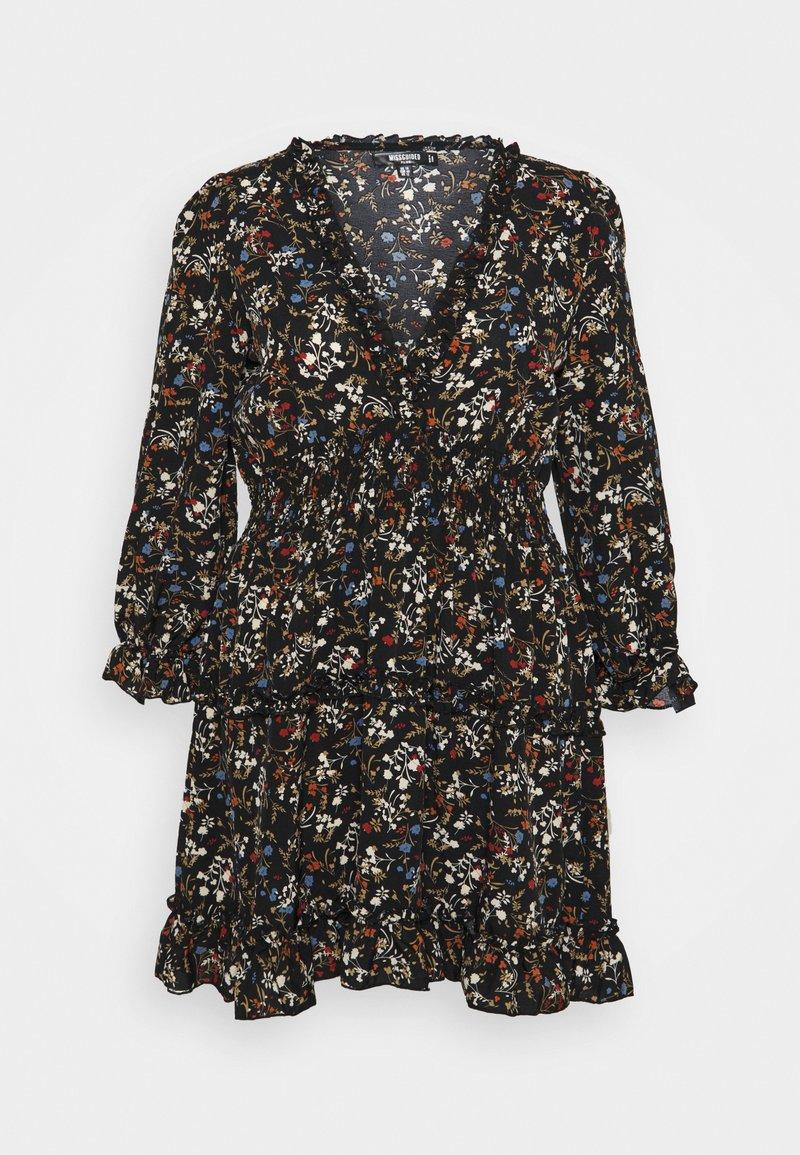 Missguided Plus - FRILL CUFF SKATER DRESS POLKA - Day dress - black