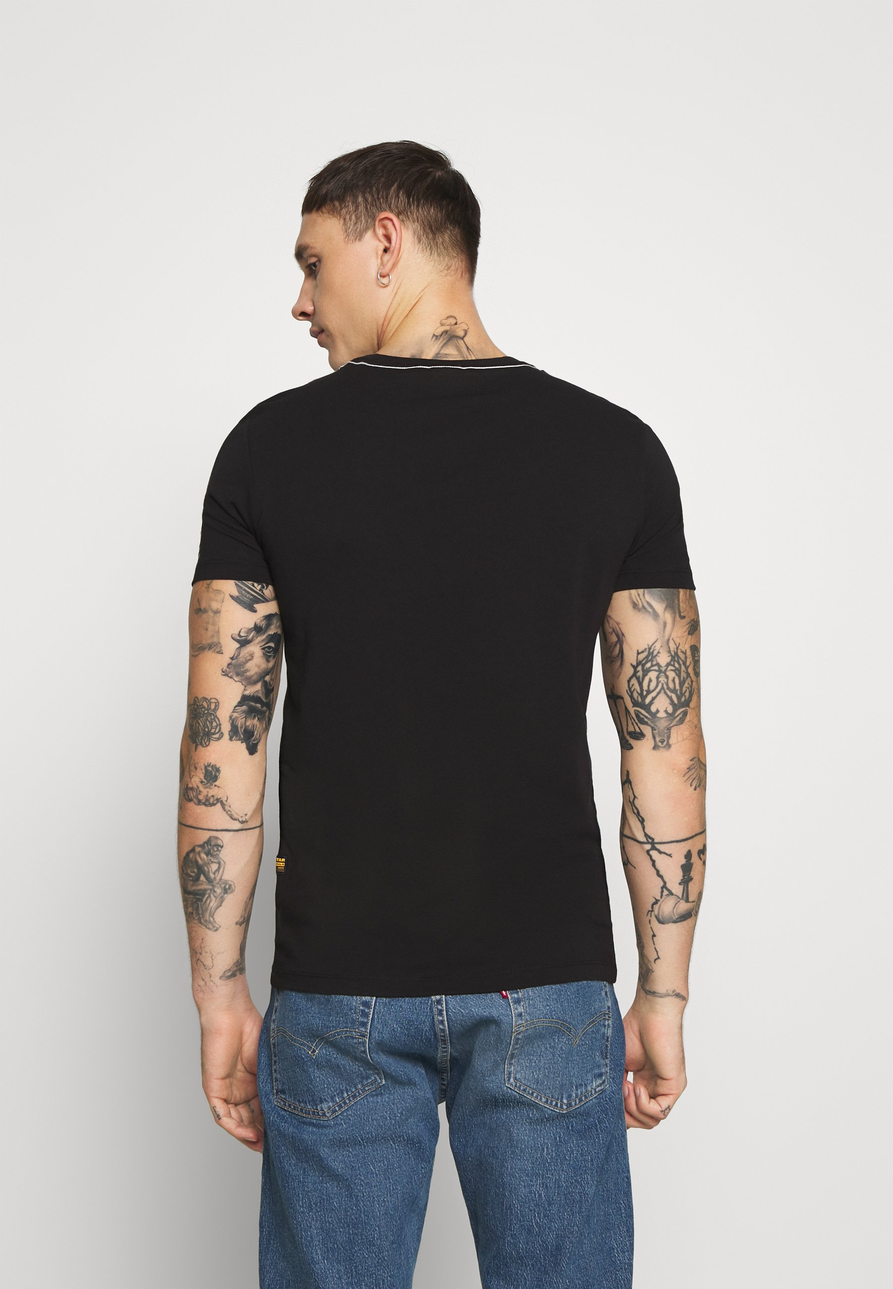 G-Star TEXT GR SLIM R T S\S - Print T-shirt - black ARfW0