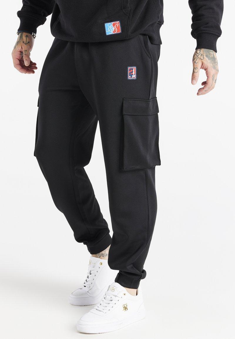 SIKSILK - SPACE JAM ELASTICATED UTILITY CARGO - Cargo trousers - black