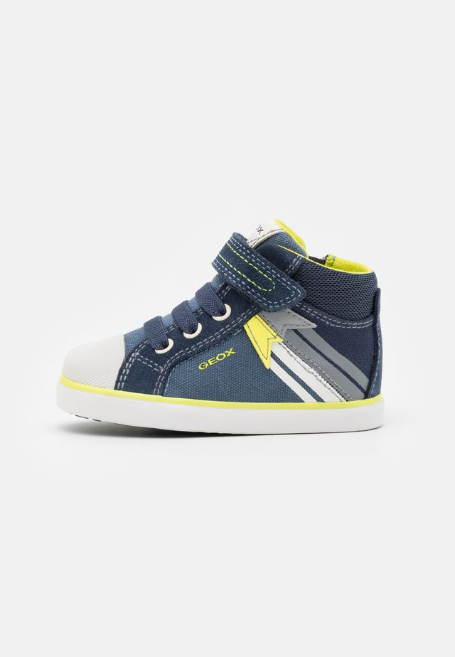 KILWI BOY - Zapatos de bebé - navy/fluo yellow