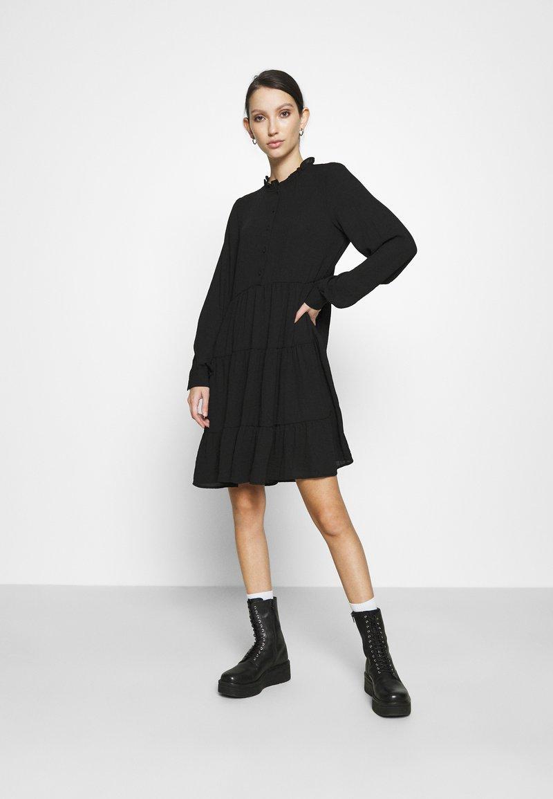 Vero Moda - VMZIGGA FRILL - Shirt dress - black