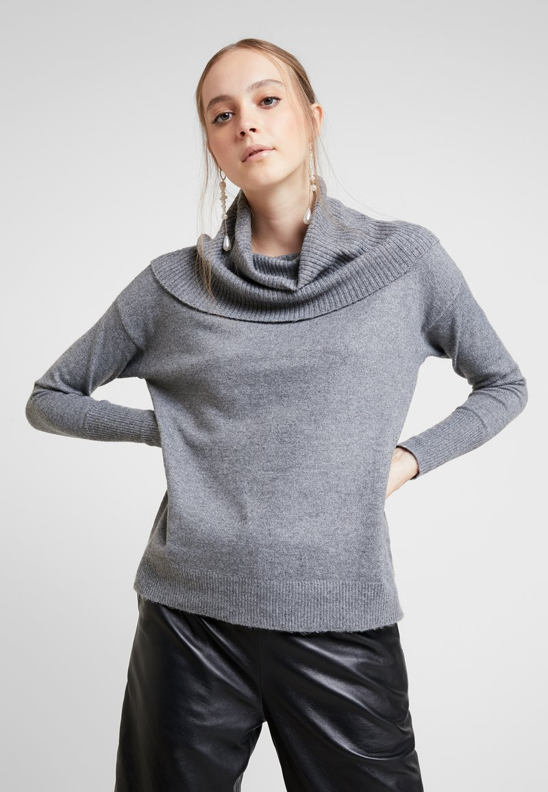 Vero Moda - VMBRILLIANT  COWLNECK  - Strikkegenser - medium grey melange