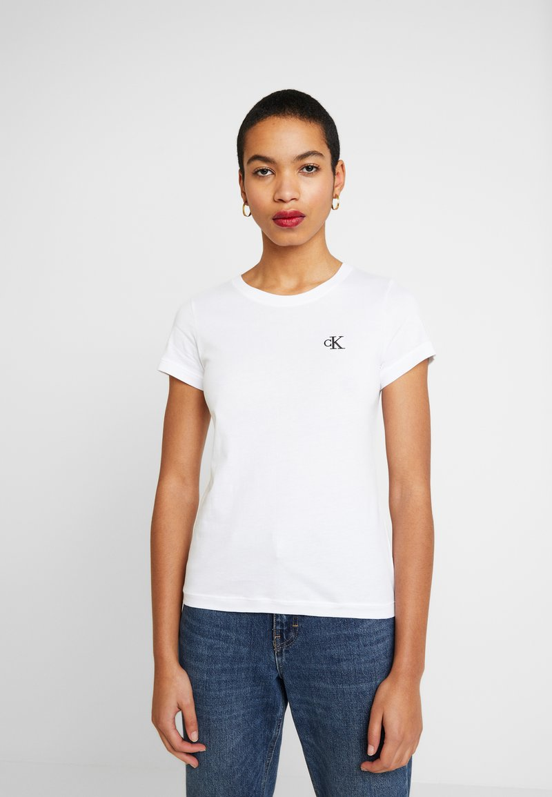 Calvin Klein Jeans - EMBROIDERY SLIM TEE - T-shirts - bright white