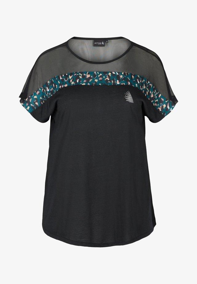 MIT MESH UND PRINT - T-shirt con stampa - black