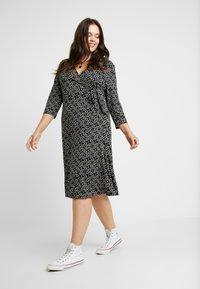 Dorothy Perkins Curve - OPEN COLLAR DRESS SPOT - Jersey dress - navy - 2