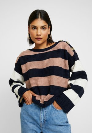 DANA BOATNECK STRIPE MIX - Jumper - heather earth