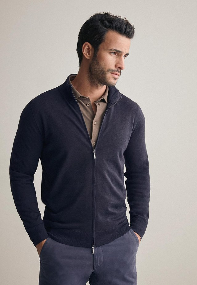 Zip-up hoodie - dark blue/mel