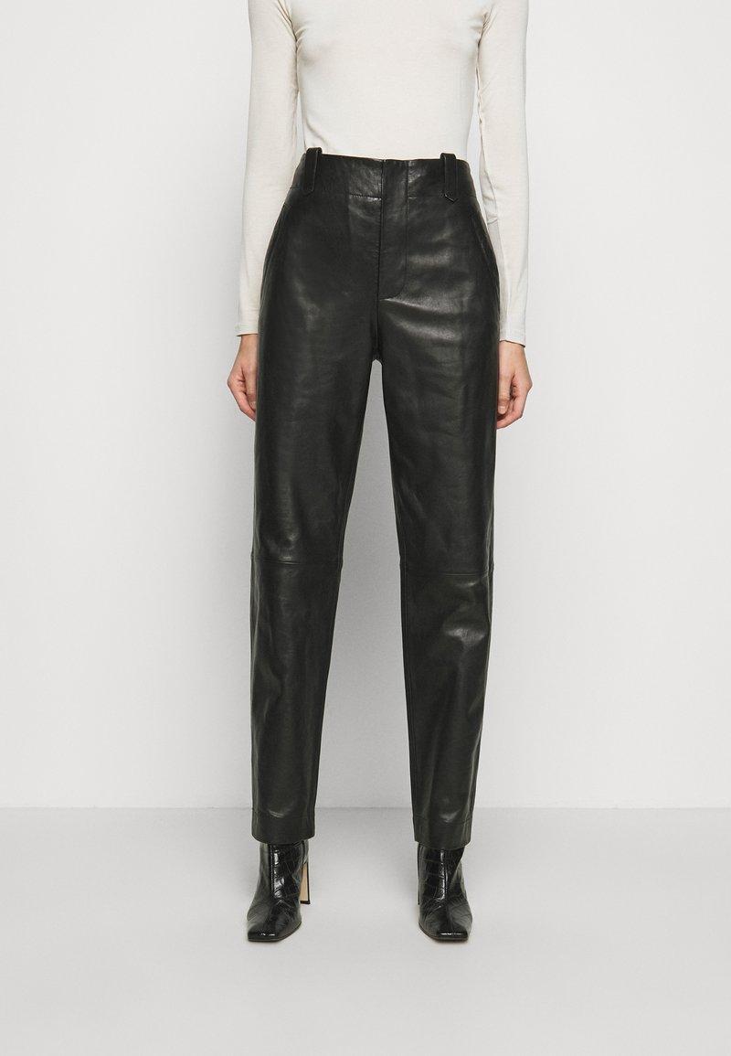 Alberta Ferretti - Leather trousers - black