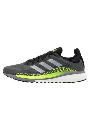 SOLAR GLIDE BOOST RUNNING SHOES - Neutral running shoes - grey five/silver metallic/signal green