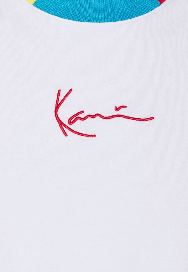 Karl Kani SMALL SIGNATURE TEE UNISEX - T-shirt z nadrukiem - white/biały Odzież Męska ECFN