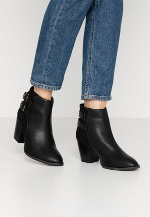 WIDE FIT ASAIL DOUBLE BUCKLE CUBAN HEEL - Classic ankle boots - black