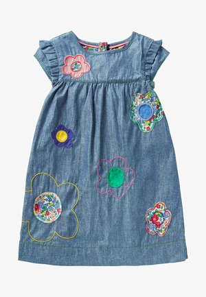 Denim dress - chambray blue flowers